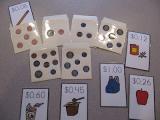 Counting money TEACCH task: tape actual coins on envelopes, make cards with items and price to slip inside (could use cut-outs from grocery circular, or coupons also).
