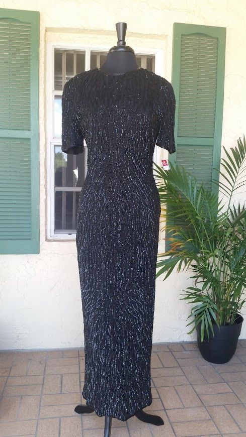 Beautiful Formal Black Gown with Sequins by Scalia.