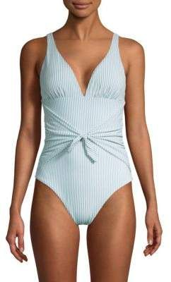Shoshanna One-Piece Pinstripe Tie-Waist Chambray Swimsuit #chambray #swimsuit #chambrayblue