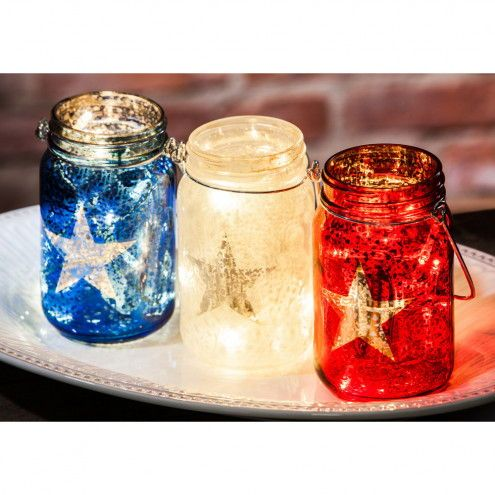 Love These Patriotic Red White And Blue Lighted Mason Jars Would Be Great Decor On The Front Porch Our Home Or B Glass Mason Jars Decorated Jars Mason Jars