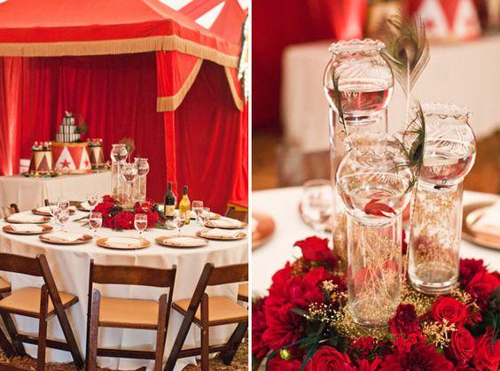 Idées déco de table pour un mariage sur le thème du cirque