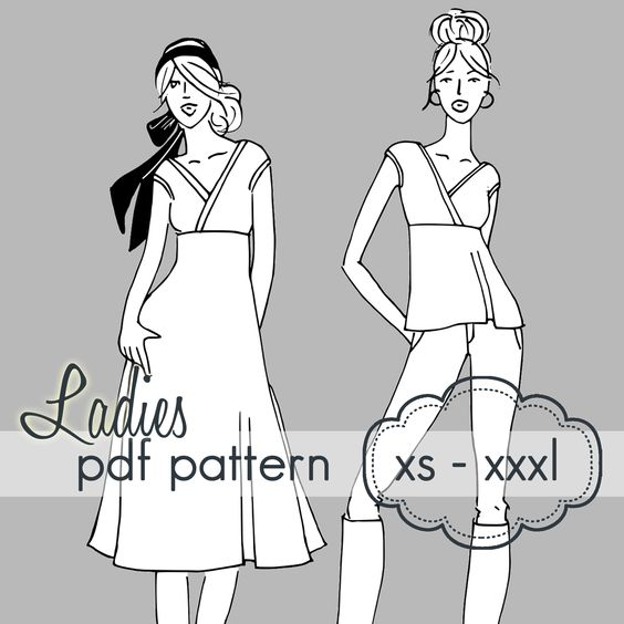 Crossover Tunic or Dress - xs - xxxl - wrap pdf sewing pattern