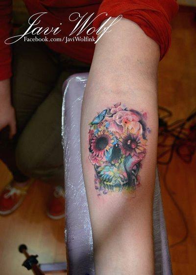 Javi Wolf Watercolor Sugar Skull tattoo