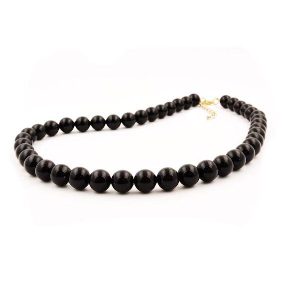 Necklace Beads 10Mm Black Shiny 70Cm