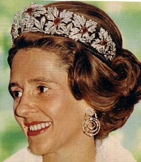 The Spanish Wedding Tiara with rubies in bandeau form worn by HM the Dowger Queen Fabiola of Belgium