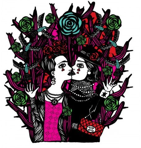 O beijo de Frida Kahlo e Coco Chanel -www.galeriarogeriofernandes.com.br