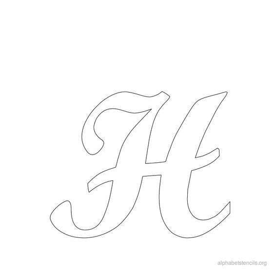 Print Free Alphabet Stencils Cursive H   printables   Pinterest ...