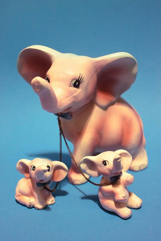 Vintage 50s Pink Elephant Adorable Figurine Home Decor