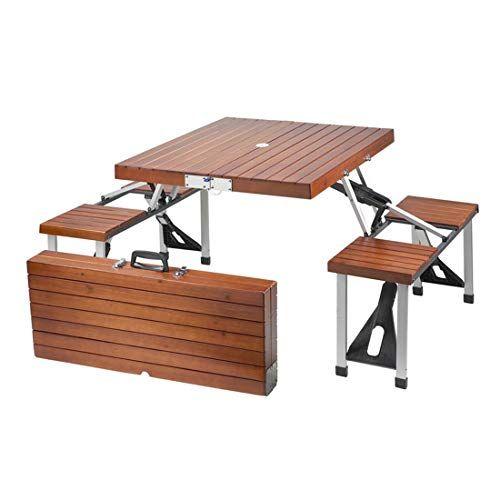 Sscj Table De Pique Nique En Bois Portable Camping Et Chaises Pliantes Tabourets Ensemble De Table De Fete Pa Table De Pique Nique Table Camping Chaise Pliante