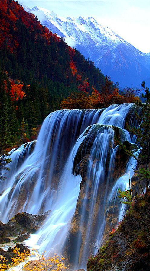 Jiuzhaigou Valley waterfalls in Sichuan, China • orig. source not found