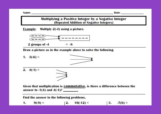 math worksheet : the top activity is to show students that multiplying a positive  : Additive Inverse Worksheet
