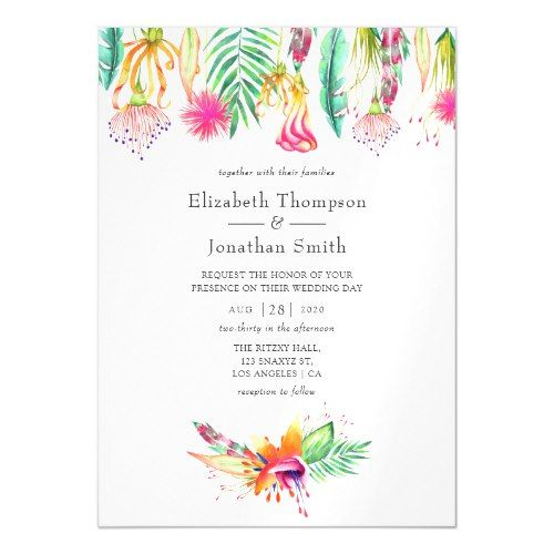 Watercolor Floral Tropical Summer Beach Wedding Magnetic