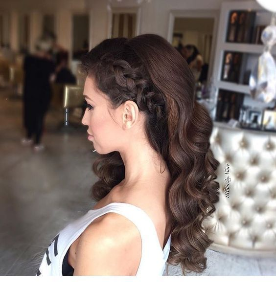 Side Braid And Curls Braid Curls New Hair Styles Prom Hairstyles For Long Hair Bridesmaid Hair