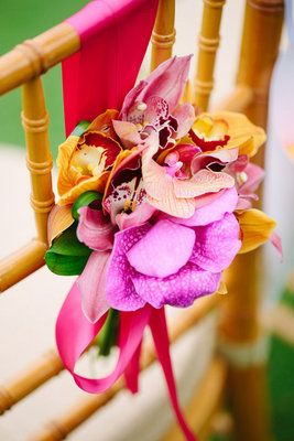 Wedding, Pink, Orange, Gold, Tropical, Chair, Décor, Claire jing: