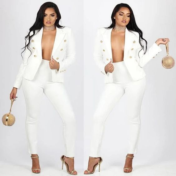 Women Pants Suits, Elegant Two Piece Women Suit, Black, White