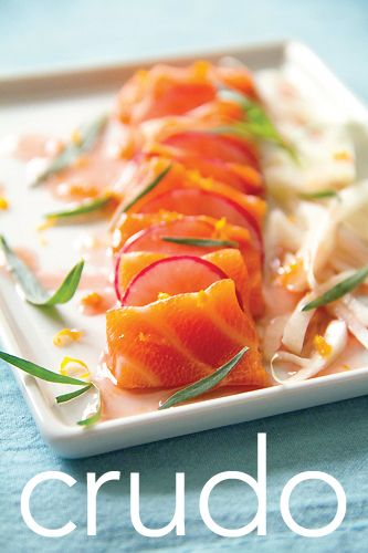 salmon belly crudo with fennel & tangerine gastrique