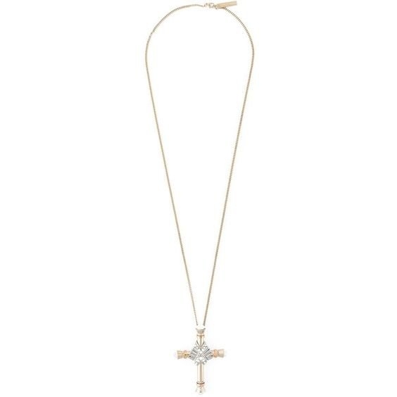 Givenchy crucifix pendant necklace ($895) ❤ liked on Polyvore featuring jewelry, necklaces, metallic, chain necklace, gold tone jewelry, silver tone necklace, givenchy jewelry и givenchy