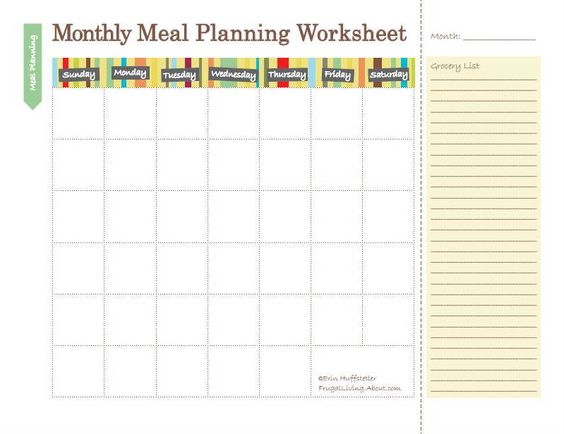 Weekly Calendar Breakfast Lunch Dinner : Meal planning calendar worksheets and planners on pinterest