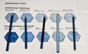 Verschiedene Buntstifte im Test