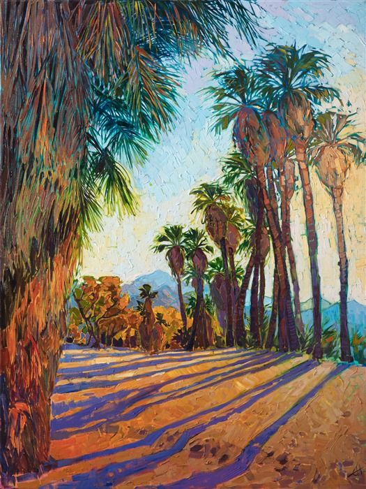 Indian Canyons Desert Palm Oasis Painting By Erin Hanson Fine