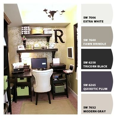 Lovely small office space. Paint colors from Chip It! by Sherwin-Williams