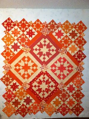 Love these colors!: Color Quilts, Beautiful Quilts, White Quilt, Quilts Star, Fall Quilts, Orange Quilts, Modern Quilts