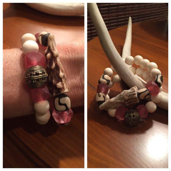 Hot pink sea glass antler tip bracelet set!