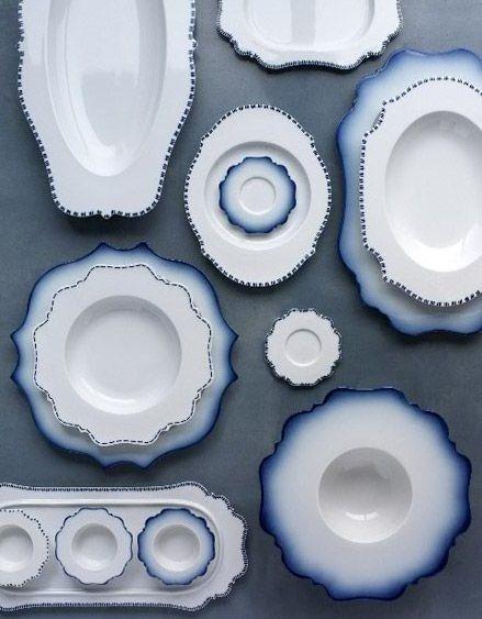 TASTE Bleu, Collection by Paola Navone for Deutch Reichenbach, porcelain manufacturer.