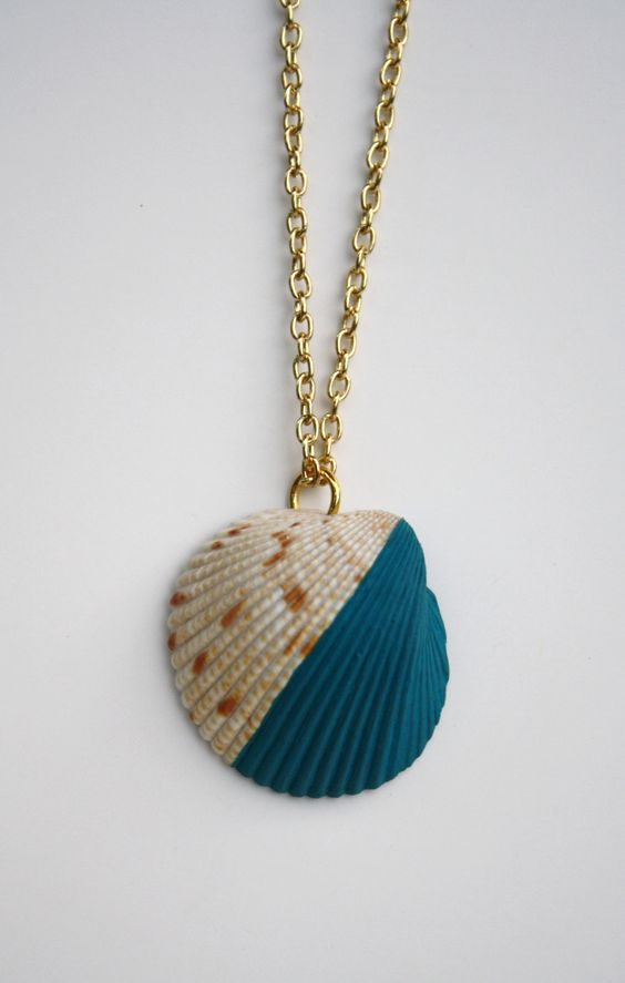 Sea Shell Necklace Pendant - Teal Dip Color Block