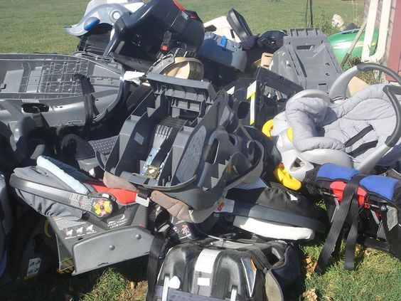What 30 seats look like in a pile...Imagine 1000's that end up in the landfill every year! Kidseat Recyclers in Calgary, Alberta, Canada http://www.facebook.com/kidseatrecyclers