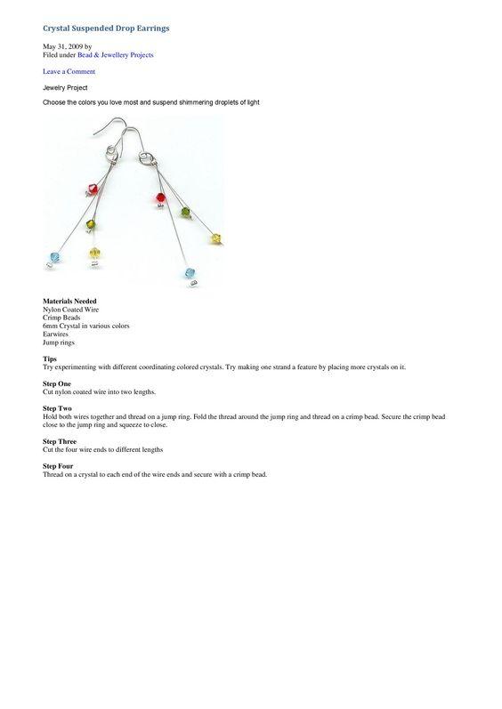 crystal drop earrings tutorial