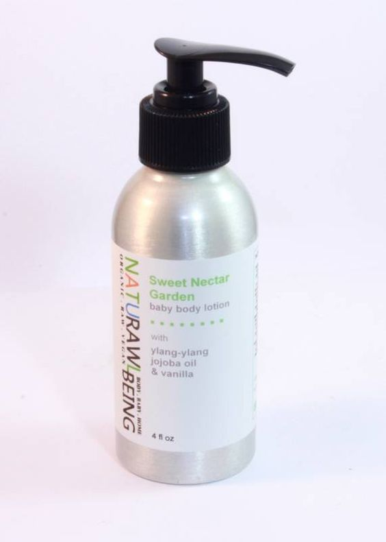 SWEET NECTAR GARDEN baby body lotion with organic jojoba oil / ylang-ylang / vanilla / pure essential oils / 4 fl oz / vegan / cruelty free / safe and gentle / housed in reusable pump bottle / + plants a tree