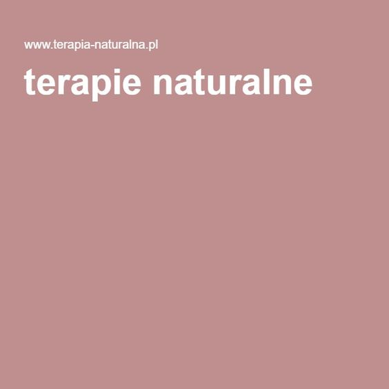 terapie naturalne