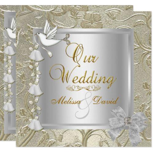 Elegant Wedding Gold Silver White Dove Invitation Zazzle Com Damask Invitations Silver Wedding Invitations Glitter Wedding Invitations