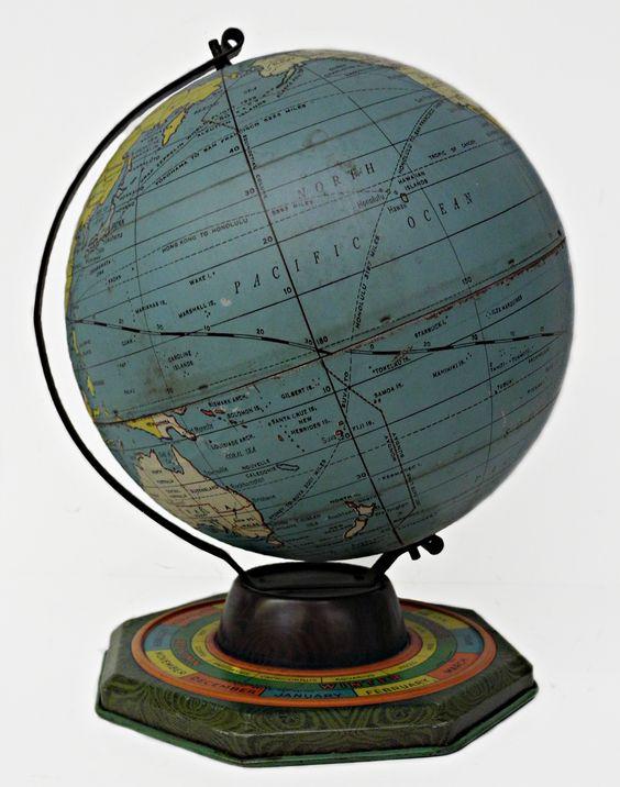 7 inch world globe, Globe Maker: J. Chein & Co. (Published: J. Chein & Co. c1930. Burlington, NJ)