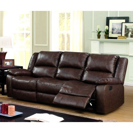Furniture Of America Reganold Leather Reclining Sofa Brown