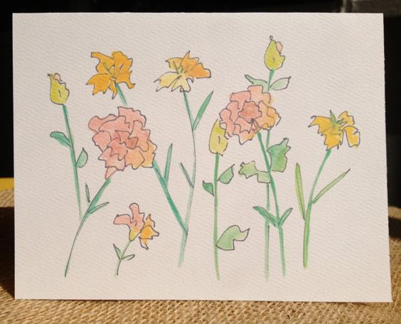 Set of Floral Stationary - Acrylic Wash with Ink - 4 Folding Cards and Envelopes For Sale on Etsy