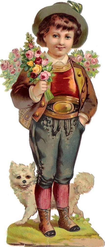 Oblaten Glanzbild scrap diecut chromo Knabe 15,7cm boy Kind child Hund dog Spitz: