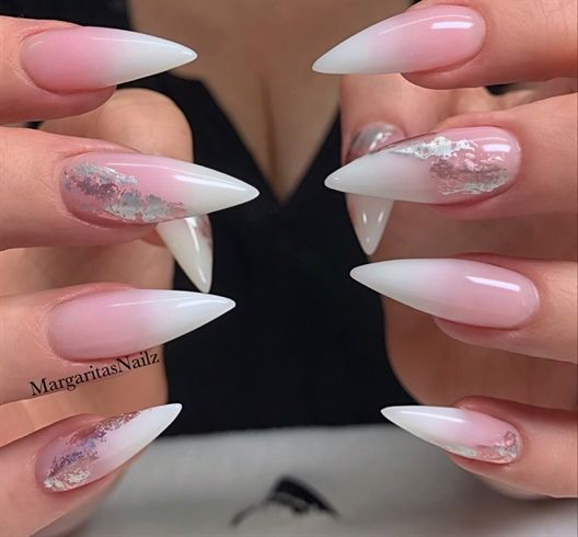 White Pink Ombr C3 A9 Fade Stiletto Nails By Margaritasnailz Nail Art Gallery Nailartgallery Nail Nail Art Ombre Ombre Nail Art Designs White Stiletto Nails