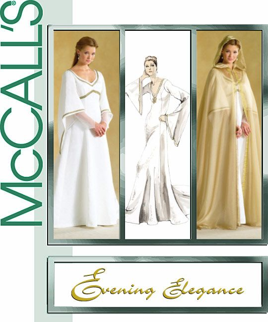 Renaissance Bridal Gown Sewing Pattern Princess Dress: McCalls M4378 SEWING PATTERN 18-24 Medieval Dress Cape