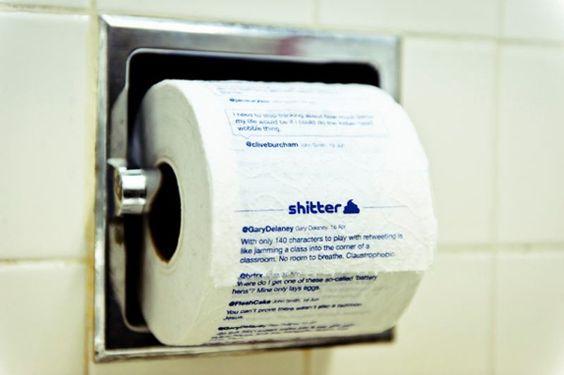 """""""A mídia social nunca foi tão descartável"""", a empresa australiana Collector's Edition criou o Shitter, um serviço de nome sugestivo que transforma a sua timeline do Twitter em papel higiênico de verdade."""