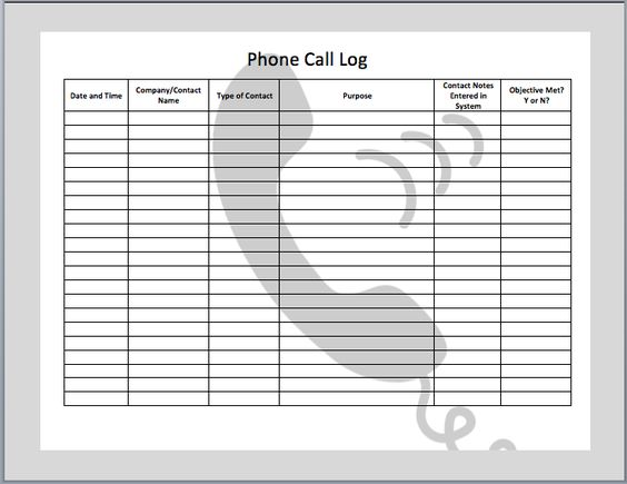 Phone Call Log Template | Templates | Pinterest | D, Logs and Phones