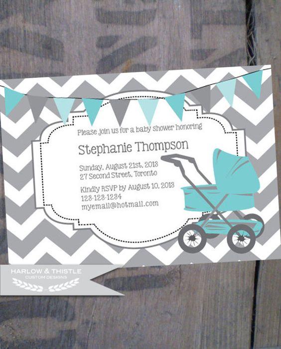 PRINTABLE Baby Shower Invitation  Custom  Grey by HarlowAndThistle, $9.96
