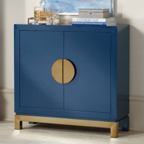 The Glossy Blue Finish Of This Contemporaneity Accent Cabinet