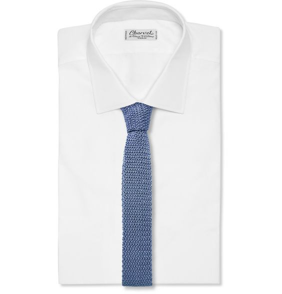 Charvet - Handmade slim knitted pure silk tie