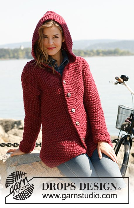 """Knitted DROPS jacket in seed st with hood in """"Andes"""" or """"Eskimo"""". Size: S - XXXL ~ DROPS Design:"""