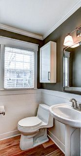 Combo of shapes = cabinet + simple mirror + square window