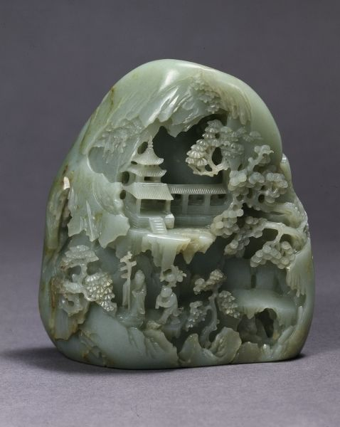 Jade miniature mountain with daoist paradise made in