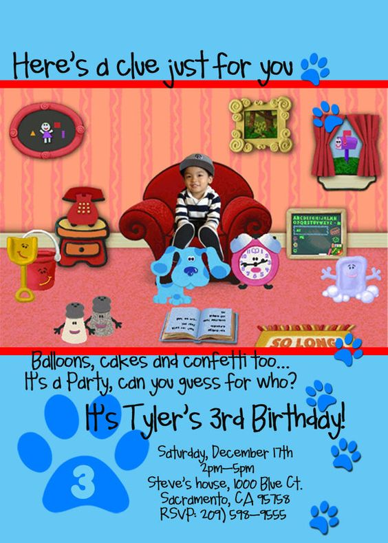 Blues clues Birthday party invitations and Invitations – Blues Clues Party Invitations