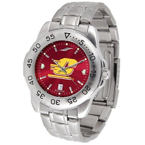 "Central Michigan Chippewas NCAA AnoChrome ""Sport"" Mens Watch (Metal Band) by SunTime. $63.00. Calendar Date Function. Rotation Bezel/Timer. Scratch Resistant Face. This handsome, eye-catching watch comes with a stainless steel link bracelet. A date calendar function plus a rotating bezel/timer circles the scratch resistant crystal. Sport the bold, colorful, high quality logo with pride. The AnoChrome dial option increases the visual impact of any watch with a stunnin..."